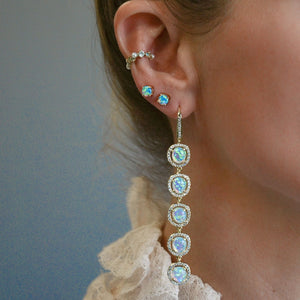 Meredith Gold Opal CZ Earrings