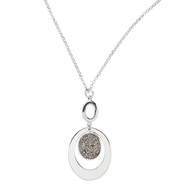Sterling Silver Lightning Drusy Oval Necklace