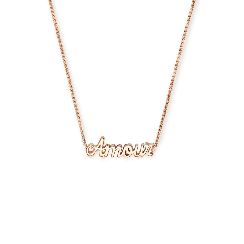 "14k Rose Gold Plated 18"" Adjustable Amour Necklace"
