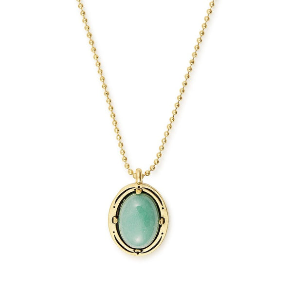 "14k Gold Plated 19"" Aventurine Adjustable Necklace"