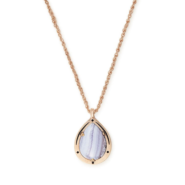 "14k Rose Gold Plated 19"" Blue Lace Agate Adjustable Necklace"
