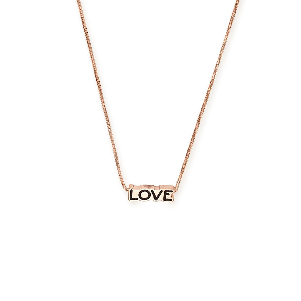 "14k Rose Gold Plated Love 18"" Adjustable Necklace"