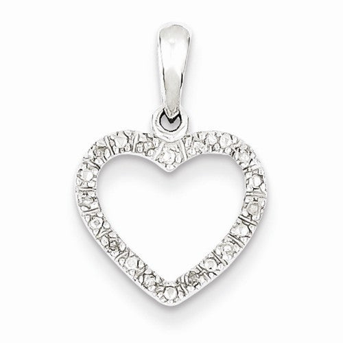Sterling Silver Rhodium Plated .05ct Diamond Heart Necklace