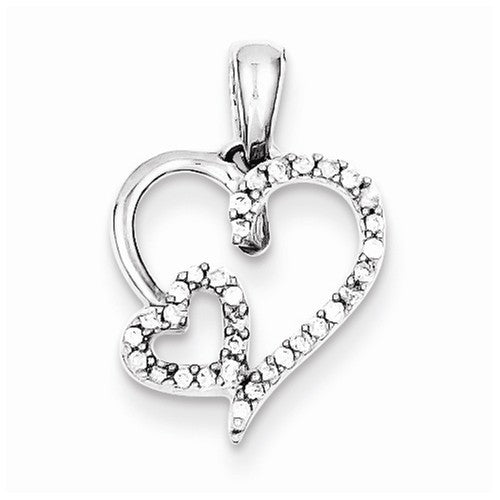 Sterling Silver .12ct Diamond Double Heart Necklace
