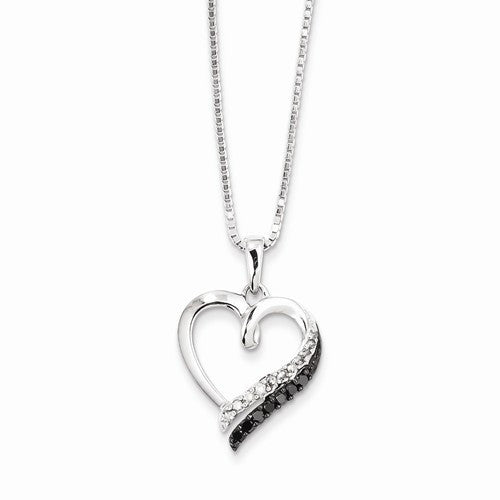 Sterling Silver Black & White .20ct  Diamond Heart Necklace