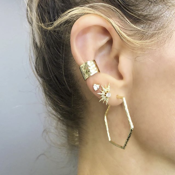 Melinda Maria Hexagon Hoop Earrings