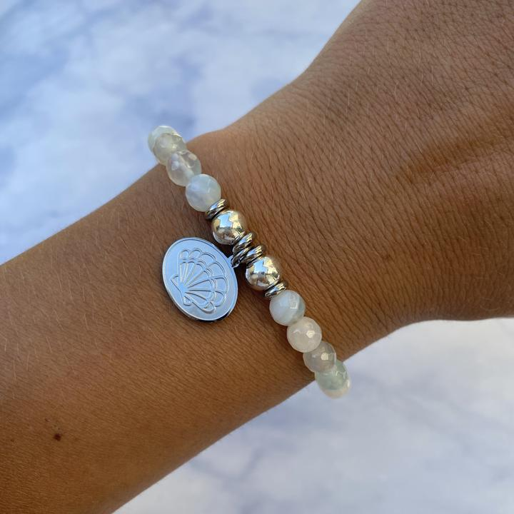 Silver Seashell Light Blue Agate Stone Bracelet
