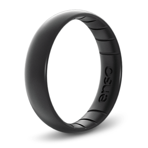 Classic Elements Black Pearl Thin Silicone Ring