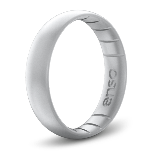 Classic Elements Silver Thin Silicone Ring