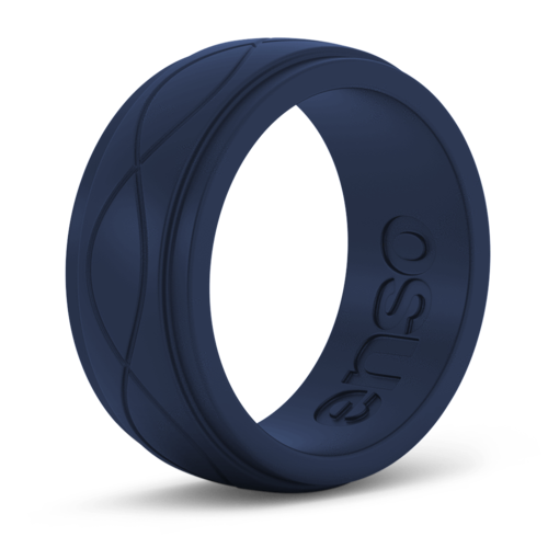 Men's Infinity Navy Blue Silicone Ring
