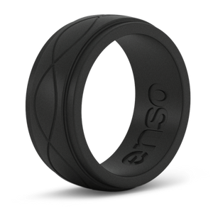 Men's Infinity Obsidian Silicone Ring