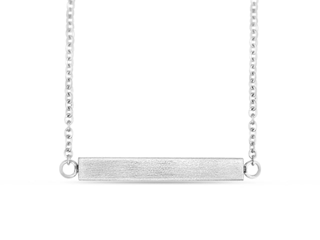 "Silver 18"" Bar Necklace"