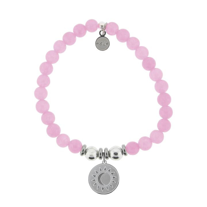 T. Jazelle Help Silver Sun and Moon Pink Agate Stone Bracelet