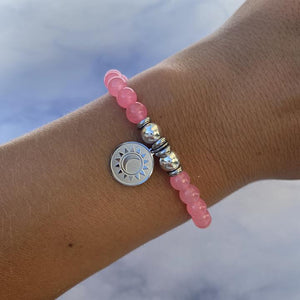 Silver Sun and Moon Pink Agate Stone Bracelet