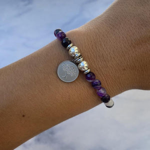 Silver Tree of Life Purple Stripe Agate Stone Bracelet