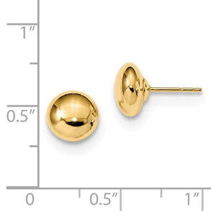 14K Yellow Gold 8mm Polished Button Post Earrings