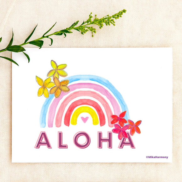 Colorful tropical watercolor hibiscus and seahorse greeting cards by Mika Harmony