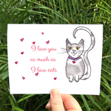 FOUR CARD SET: Colorful Valentine's Day cards featuring a sweet grey and white kitty cat - Mika Harmony