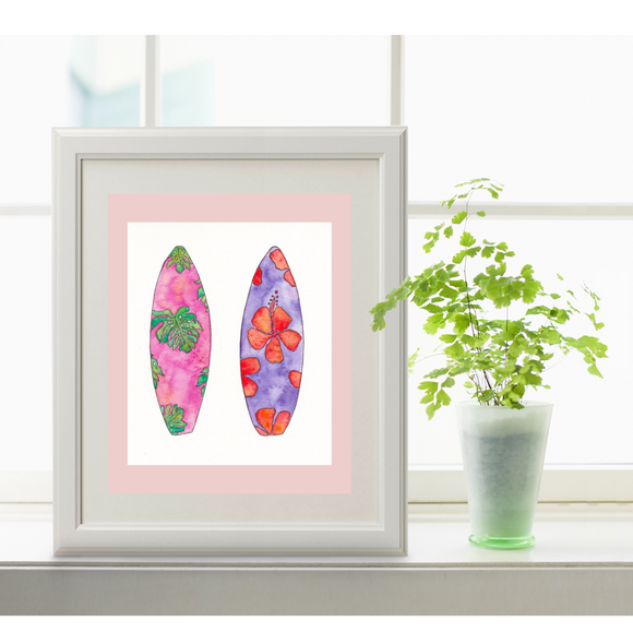 Surf Art Surfboard Paintings. Monstera and Hibiscus Surfboard 5x7 Prints in the Mika Harmony Aloha Art style - Mika Harmony