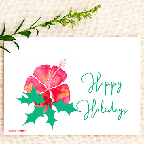 Vibrant watercolor red hibiscus and Christmas holly holiday greeting cards. SET OF 4 CARDS