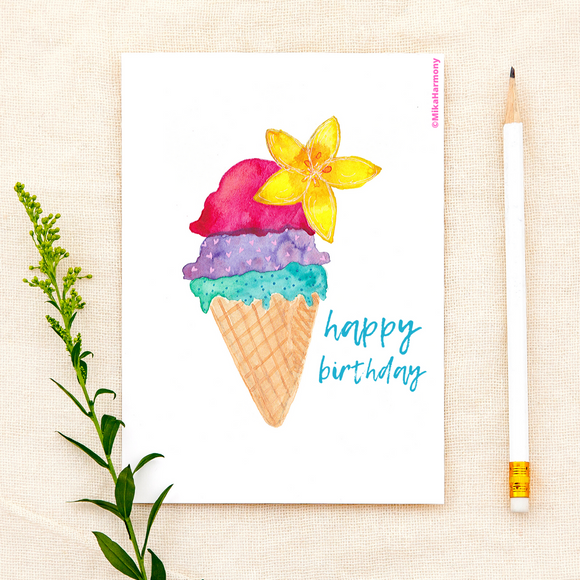 Birthday Card:Aloha Ice Cream birthday greeting card - Mika Harmony