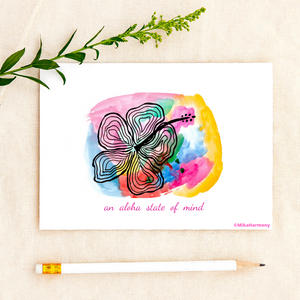 "Colorful Watercolor Hibiscus greeting card: ""an aloha state of mind"" - Mika Harmony"