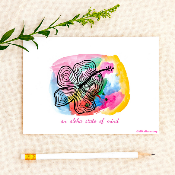 Colorful Watercolor Hibiscus greeting card: