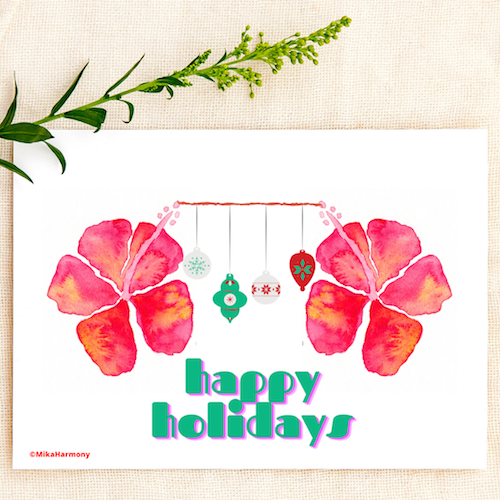 Tropical Watercolor Red Hibiscus and ornaments Happy Holidays greeting cards. SET OF 4 CARDS