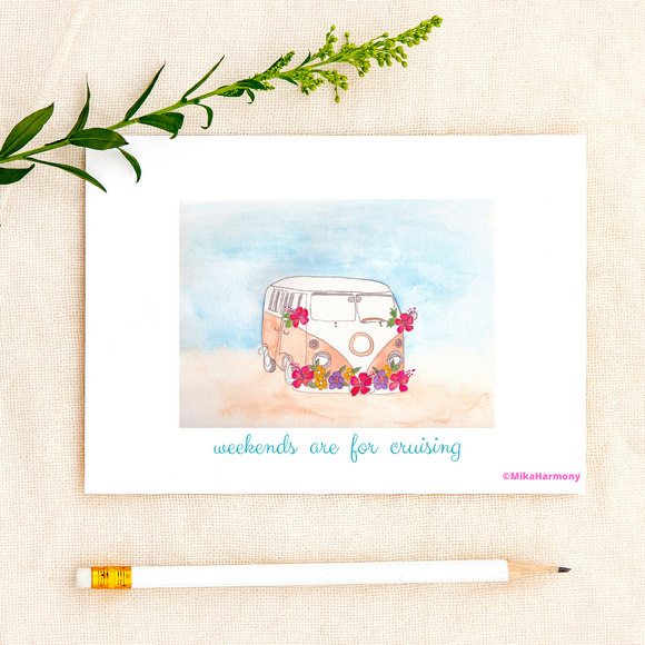 ALL OCCASSION: California Surfer Van greeting cards: for your beachy cool correspondence - Mika Harmony