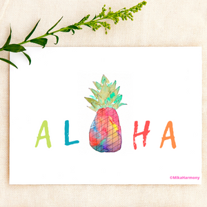 ALL OCCASION: Aloha Rainbow Pineapple greeting card - Mika Harmony