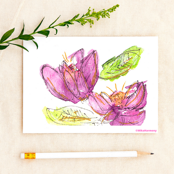 Abstract purple Lotus watercolor greeting cards: Single or Set of 4 - Mika Harmony