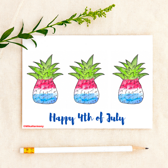 Instant Printable 4th of July Card. Red, White and Blue PINEAPPLE! - Mika Harmony