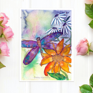 "NEW GARDEN ART SERIES: Dragonfly and flower 5x7  print ""Tranquility"" - Mika Harmony"