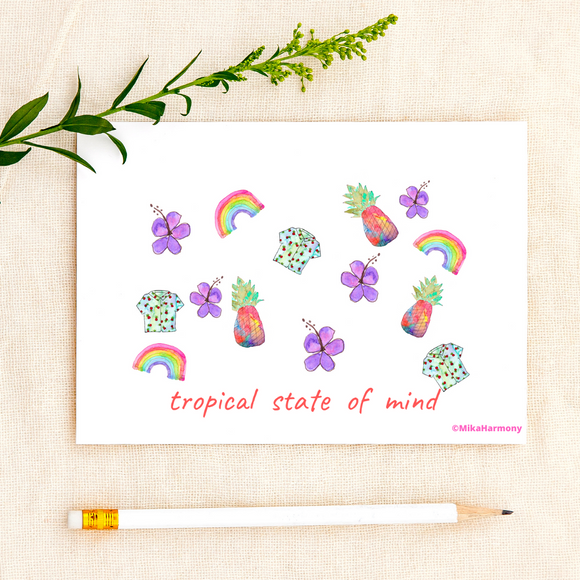 Happy, colorful cards: Aloha Shirt, tropical pineapple print greeting cards with rainbows too! - Mika Harmony
