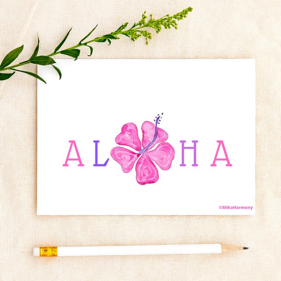 ALL OCCASION: Aloha Hibiscus watercolor greeting cards in pinks/purples - Mika Harmony
