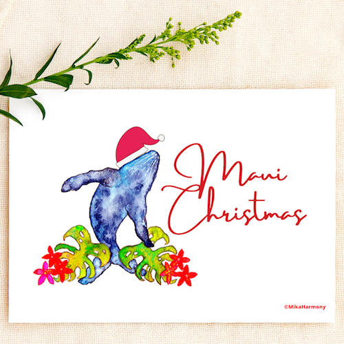 Tropical Watercolor Santa Whale.  Choose from: Maui Christmas or Mele Kalikimaka card: SET OF 4 CARDS