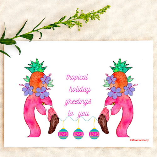 Tropical Flamingo and pineapple Holiday greeting cards. SET OF 4 CARDS