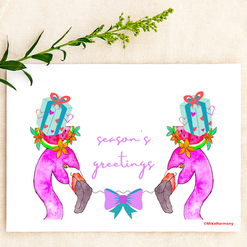 Tropical Flamingos and Presents Holiday greeting cards. SET OF 4 CARDS