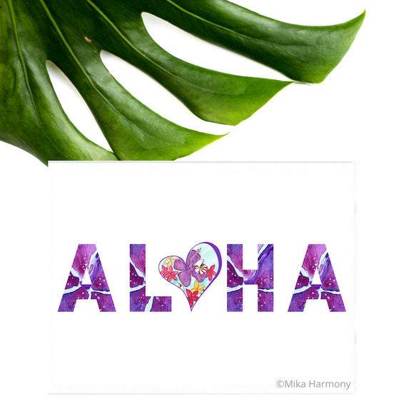 NEW 5x7 print: ALOHA in purple hibiscus