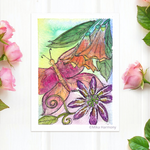 "NEW GARDEN ART SERIES: Pink Butterfly and Purple Passion Flower 5x7 print ""Maui Magical Garden Moments"" - Mika Harmony"