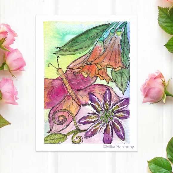 NEW GARDEN ART SERIES: Pink Butterfly and Purple Passion Flower 5x7 print