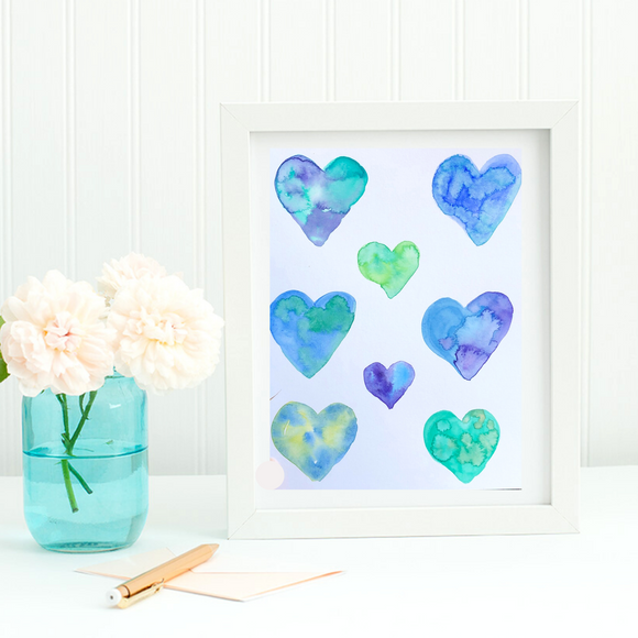 ORIGINAL WATERCOLOR:  Heart paintings in a ocean blues and grassy greens.