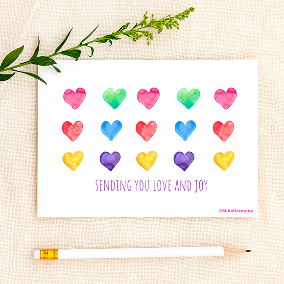 ALL OCCASION: Rainbow Heart watercolor greeting cards: Single or Set of 4 - Mika Harmony