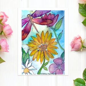 "NEW GARDEN ART SERIES: Dragonfly and flower 5x7  print ""Spring Symphony"" - Mika Harmony"