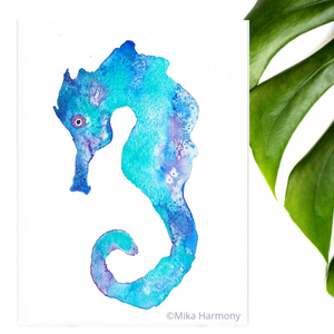 Turquoise, Blue and Seafoam Green thoughtful Seahorse watercolor: 5x7 art print - Mika Harmony