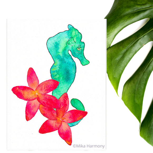 Tropical Ocean Art: Turquoise Green Seahorse in a bouquet of tropical ruby plumeria - Mika Harmony