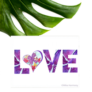 "Colorful NEW 5x7 print: LOVE in purple hibiscus ""font"" and Heart with Seashell and Tropical Flowers - Mika Harmony"