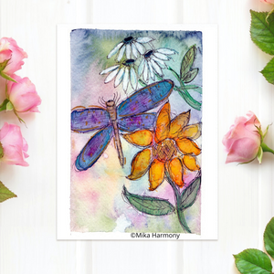 "NEW GARDEN ART SERIES: Dragonfly and flower 5x7  print ""Tranquility II"" - Mika Harmony"