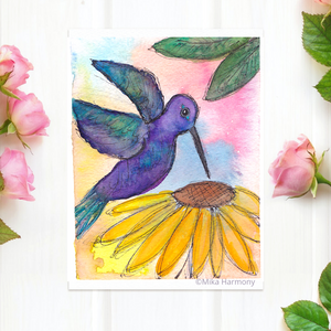 "NEW GARDEN ART SERIES: Hummingbird and Sunflower 5x7  print ""Sunshine Sunflower Angel"" - Mika Harmony"
