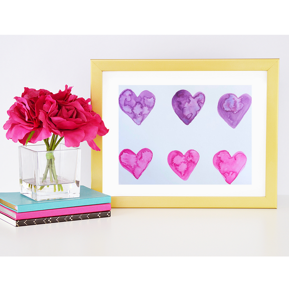 ORIGINAL WATERCOLOR:  Heart paintings in purples and pinks.